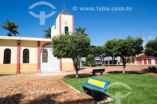 Vista da Praça São Sebastião com a Igreja de São Sebastião ao fundo  - Itaguari - Goiás (GO) - Brasil
