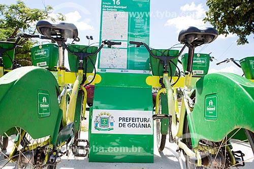 Bicicletas na estação Câmara Municipal de Goiânia de bicicletas públicas - para aluguel  - Goiânia - Goiás (GO) - Brasil