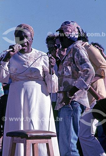 Clementina de Jesus e Milton Nascimento durante o Show do Paraíso - promovido por Milton Nascimento e conhecido como o Woodstock Mineiro  - Três Pontas - Minas Gerais (MG) - Brasil