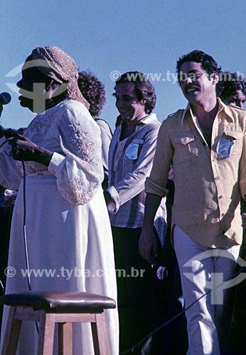 Clementina de Jesus e Chico Buarque durante o Show do Paraíso - promovido por Milton Nascimento e conhecido como o Woodstock Mineiro  - Três Pontas - Minas Gerais (MG) - Brasil