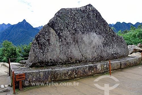 Detalhe da Rocha Sagrada nas ruínas de Machu Picchu  - Departamento de Cusco - Peru