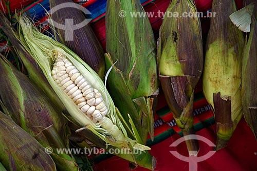 Detalhe de espigas de milho branco à venda no Machu Picchu pueblo  - Machu Picchu pueblo - Departamento de Cusco - Peru