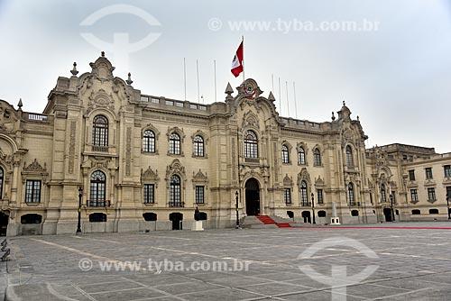 Fachada do Palacio de Gobierno del Perú (Palácio do Governo do Peru) - 1938 - sede do governo e residencia oficial do Presidente do Peru  - Lima - Província de Lima - Peru