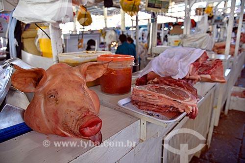 Carne de porco à venda no Mercado Central de San Pedro  - Cusco - Departamento de Cusco - Peru