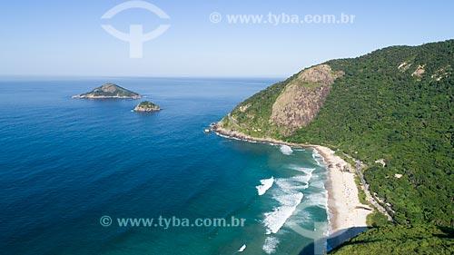 Foto feita com drone do Parque Natural Municipal da Prainha com a Ilha das Peças e Ilha das Palmas ao fundo  - Rio de Janeiro - Rio de Janeiro (RJ) - Brasil