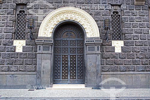 Detalhe da porta do Edifício Seabra (1931) na Avenida Praia do Flamengo  - Rio de Janeiro - Rio de Janeiro (RJ) - Brasil