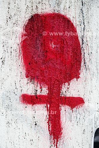 Detalhe de grafite em homenagens marcando 1 mês do assassinato da Vereadora Marielle Franco na Rua João Paulo I - onde ela foi assassinada a tiros em 14 de março de 2018  - Rio de Janeiro - Rio de Janeiro (RJ) - Brasil