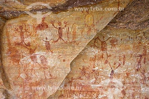 Detalhe de pintura rupestre - figura de pessoas - no Sítio Arqueológico Toca da Extrema II no Parque Nacional Serra da Capivara  - Coronel José Dias - Piauí (PI) - Brasil