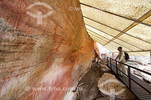 Homem observando pinturas rupestres no Sítio Arqueológico Toca do João Arsena no Parque Nacional Serra da Capivara  - São Raimundo Nonato - Piauí (PI) - Brasil
