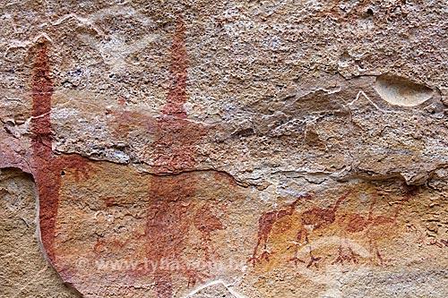 Detalhe de pintura rupestre - figuras de animais - no Sítio Arqueológico Toca do Boqueirão da Pedra Furada no Parque Nacional Serra da Capivara  - Coronel José Dias - Piauí (PI) - Brasil