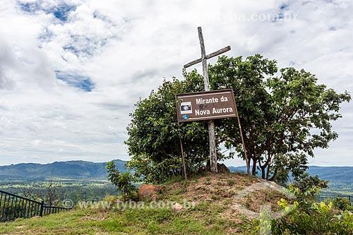Placa informativa no Mirante da Nova Aurora  - Cavalcante - Goiás (GO) - Brasil