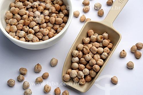 Detalhe de grãos de grãos-de-bico (Cicer arietinum)  - Brasil