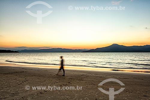Vista do pôr do sol a partir da orla da Praia da Daniela  - Florianópolis - Santa Catarina (SC) - Brasil