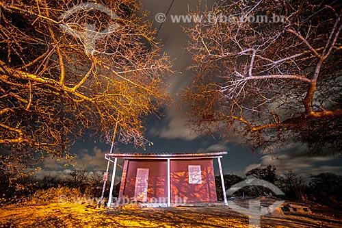 Fachada de casa na Chapada Diamantina à noite  - Jacobina - Bahia (BA) - Brasil