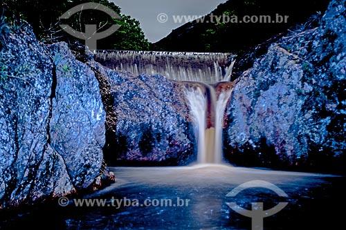 Cachoeira na Chapada Diamantina à noite  - Jacobina - Bahia (BA) - Brasil