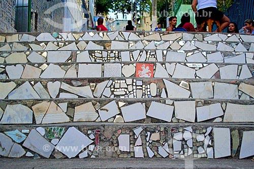 Detalhe de azulejo com o desenho de São Jorge em escadaria na Avenida Mem de Sá  - Rio de Janeiro - Rio de Janeiro (RJ) - Brasil