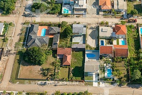 Foto aérea de casas no bairro de Pontal do Sul  - Pontal do Paraná - Paraná (PR) - Brasil