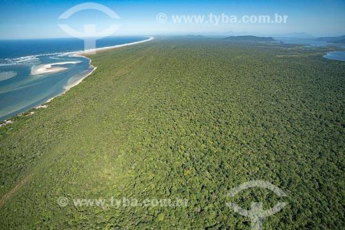 Foto aérea da Barra do Ararapira no Parque Nacional de Superagüi  - Guaraqueçaba - Paraná (PR) - Brasil