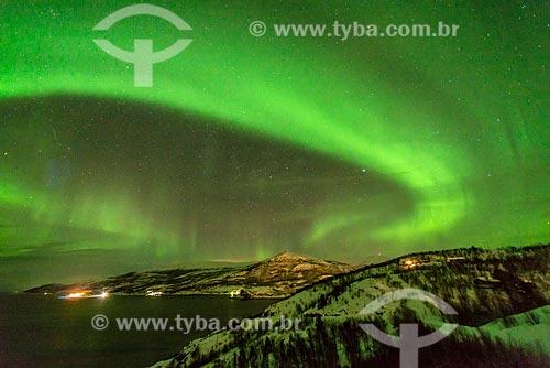 Vista de aurora polar  - Storekorsnes - Condado de Finnmark - Noruega
