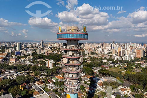 Foto feita com drone da Torre Panorâmica de Curitiba - também conhecida como Torre da Telepar ou Torre das Mercês  - Curitiba - Paraná (PR) - Brasil