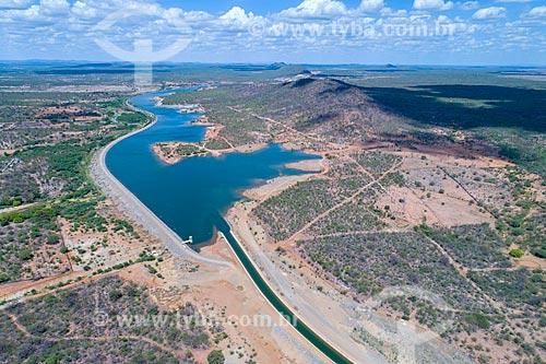 Foto feita com drone do Reservatório Cacimba Nova - parte do Projeto de Integração do Rio São Francisco com as bacias hidrográficas do Nordeste Setentrional  - Custódia - Pernambuco (PE) - Brasil