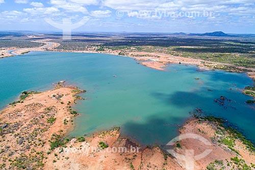 Foto feita com drone do Reservatório de Areias - parte do Projeto de Integração do Rio São Francisco com as bacias hidrográficas do Nordeste Setentrional  - Floresta - Pernambuco (PE) - Brasil