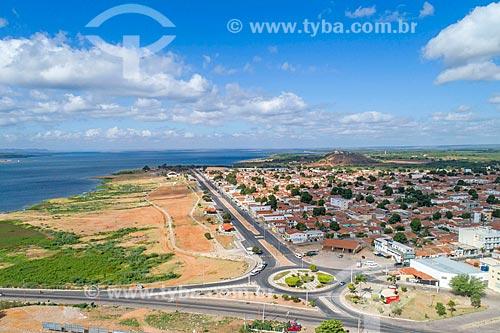 Foto feita com drone da cidade de Petrolândia com o Rio São Francisco ao fundo  - Petrolândia - Pernambuco (PE) - Brasil