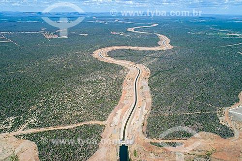 Foto feita com drone do canal do Projeto de Integração do Rio São Francisco com as bacias hidrográficas do Nordeste Setentrional - eixo norte  - Cabrobó - Pernambuco (PE) - Brasil