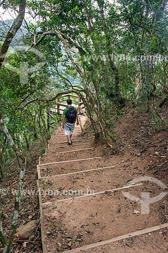Escada de acesso ao Mirante da Cascatinha no Parque Nacional da Tijuca  - Rio de Janeiro - Rio de Janeiro (RJ) - Brasil