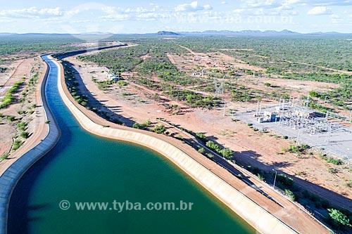Foto feita com drone do reservatório da UBI 1 do Projeto de Integração do Rio São Francisco com as bacias hidrográficas do Nordeste Setentrional - eixo leste  - Cabrobó - Pernambuco (PE) - Brasil