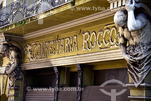 Detalhe de letreiro da Confeitaria Rocco (1912)  - Porto Alegre - Rio Grande do Sul (RS) - Brasil