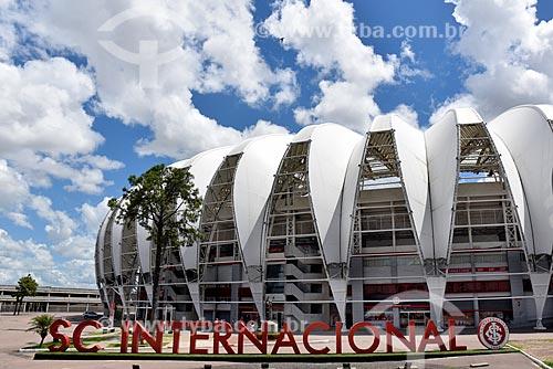 Letreiro com os dizeres: SC Internacional em frente ao Estádio José Pinheiro Borda (1969) - mais conhecido como Beira-Rio  - Porto Alegre - Rio Grande do Sul (RS) - Brasil