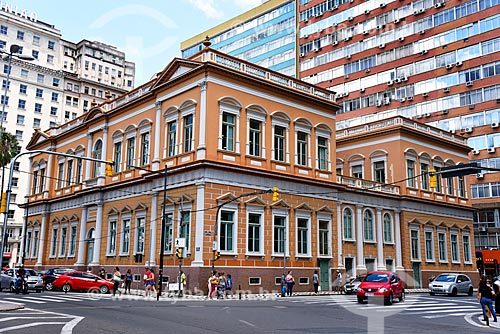 Fachada posterior do Paço Municipal de Porto Alegre (1901) a partir da Avenida Borges de Medeiros  - Porto Alegre - Rio Grande do Sul (RS) - Brasil