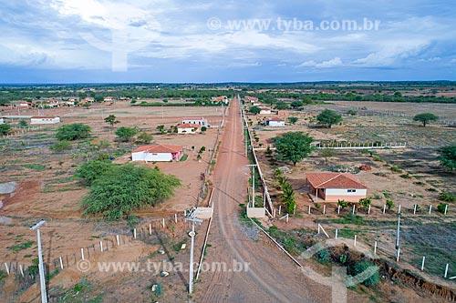 Foto feita com drone da Vila Produtiva Rural (VPR) - conjunto habitacional para desapropriados da Transposição do Rio São Francisco - eixo norte  - Penaforte - Ceará (CE) - Brasil