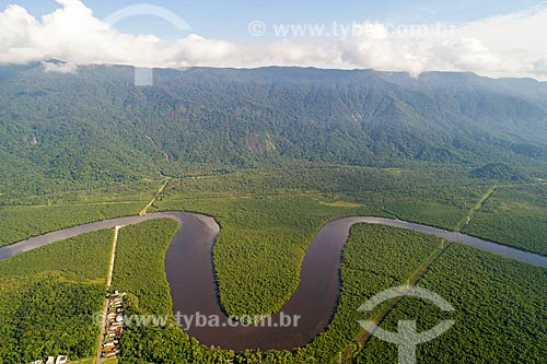 Foto feita com drone do Rio Itapanhaú no Parque Estadual Restingas de Bertioga  - Bertioga - São Paulo (SP) - Brasil