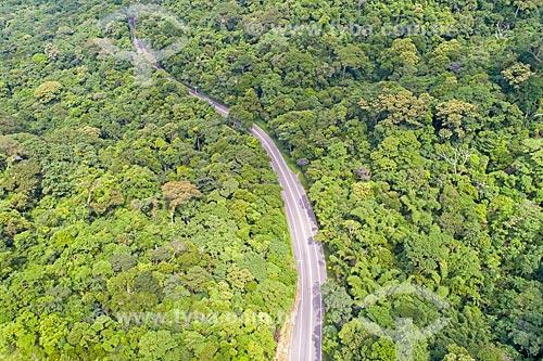 Foto feita com drone de Rodovia Doutor Manuel Hipólito Rego (SP-055) no Núcleo São Sebastião do Parque Estadual da Serra do Mar  - São Sebastião - São Paulo (SP) - Brasil