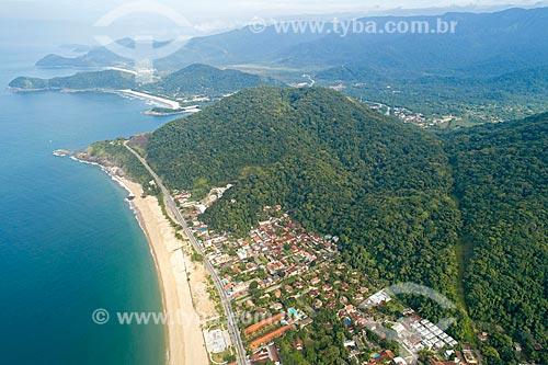 Foto feita com drone da Praia de Boicucanga com o Núcleo São Sebastião do Parque Estadual da Serra do Mar  - São Sebastião - São Paulo (SP) - Brasil