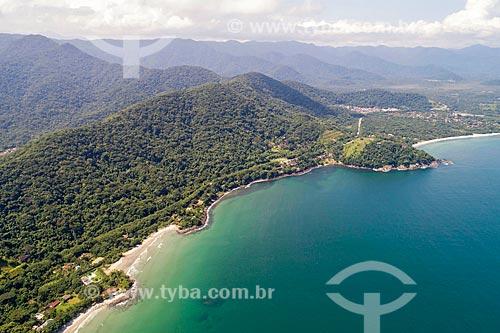 Foto feita com drone da Rodovia Doutor Manuel Hipólito Rego (SP-055) na Praia Preta  - São Sebastião - São Paulo (SP) - Brasil