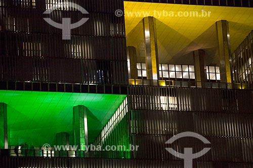 Detalhe do Edifício Sede da Petrobras à noite  - Rio de Janeiro - Rio de Janeiro (RJ) - Brasil