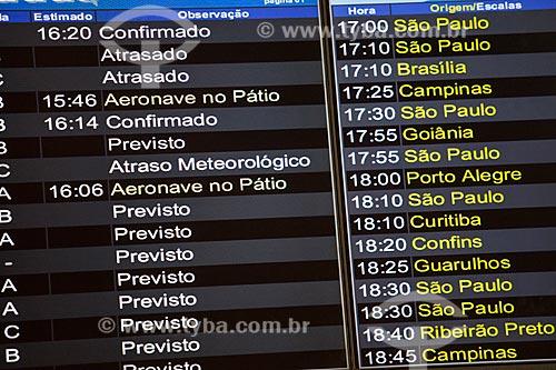 Painel de voos no Aeroporto Santos Dumont durante atrasos e cancelamentos provocados por nevoeiro  - Rio de Janeiro - Rio de Janeiro (RJ) - Brasil