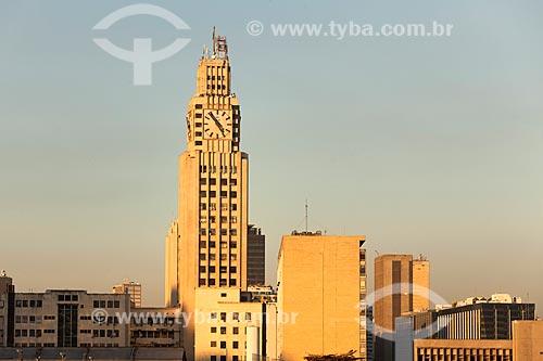 Torre do relógio da Central do Brasil durante o pôr do sol  - Rio de Janeiro - Rio de Janeiro (RJ) - Brasil
