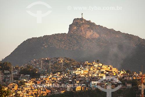 Vista do Morro da Mineira com o Cristo Redentor ao fundo  - Rio de Janeiro - Rio de Janeiro (RJ) - Brasil