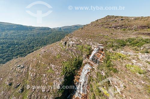 Foto aérea da Cachoeira da Ponte de Pedra no Parque Estadual do Guartelá  - Tibagi - Paraná (PR) - Brasil