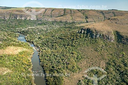 Foto aérea do Rio Iapó no Cânion das Guartelá no Parque Estadual do Guartelá  - Tibagi - Paraná (PR) - Brasil