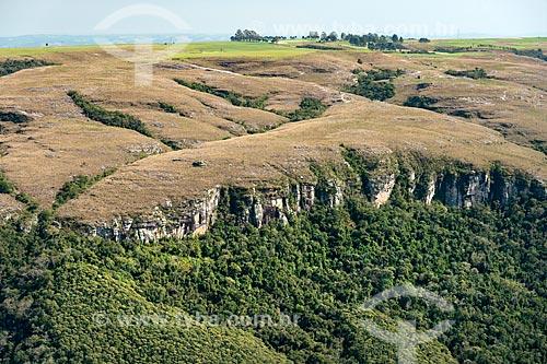 Foto aérea de escarpa de arenito devoniano próximo ao Cânion das Guartelá no Parque Estadual do Guartelá  - Tibagi - Paraná (PR) - Brasil