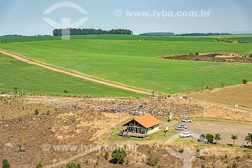 Foto aérea do centro de visitantes no Parque Estadual do Guartelá  - Tibagi - Paraná (PR) - Brasil