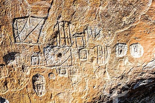 Detalhe de desenho rupestre no Sítio Arqueológico no Morro do Avencal  - Urubici - Santa Catarina (SC) - Brasil