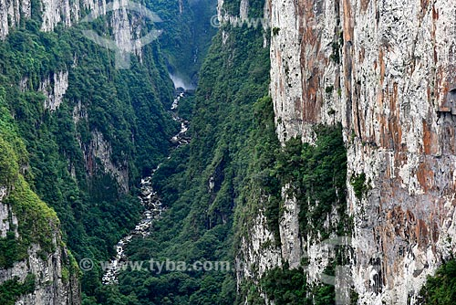 Vista do Cânion do Itaimbezinho no Parque Nacional dos Aparados da Serra com o rio do boi a partir da trilha do cotovelo  - Cambará do Sul - Rio Grande do Sul (RS) - Brasil