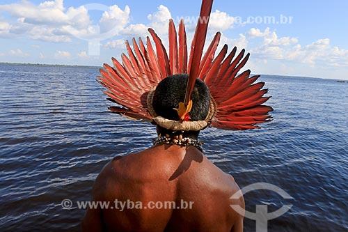 Detalhe de cacique Hermano Prado Godinho da tribo Tatuyo no Rio Negro  - Manaus - Amazonas (AM) - Brasil