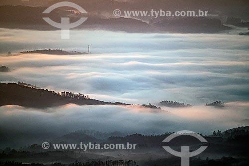 Vista de neblina durante o amanhecer no mirante na Rodovia SC-390 - antiga SC-438 - na Serra do Rio do Rastro  - Bom Jardim da Serra - Santa Catarina (SC) - Brasil